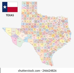 texas administrative map with flag