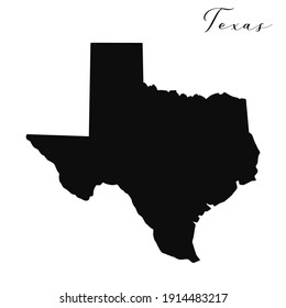 Texas black silhouette vector map. Editable high quality illustration of the American state of Texas simple map