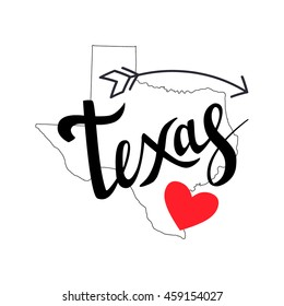 Texas brush lettering with arrow and heart on white background. Silhouette Map of Texas. Vector illustration. Isolated elements