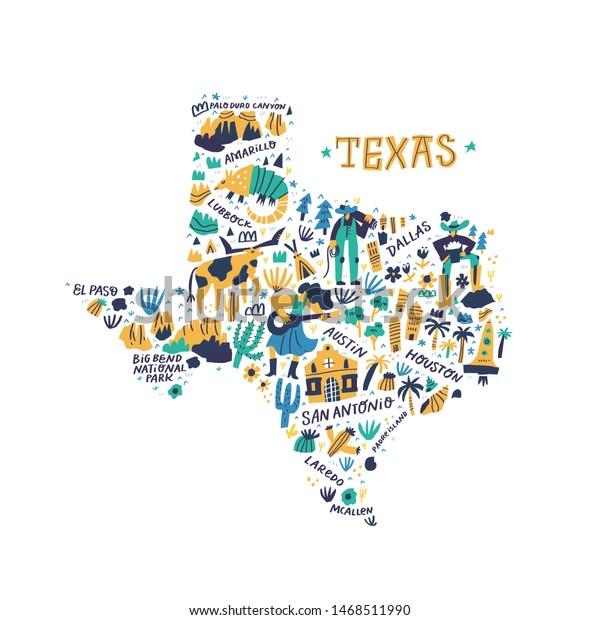 Texas Cartoon Map Vector Illustration Western Stock Vector ...