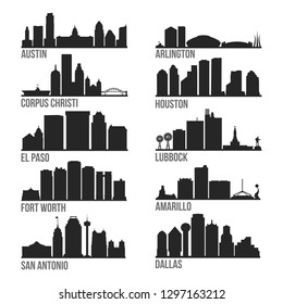 Texas Cities Most Famous Skyline City Silhouette Design Collection Set Pack