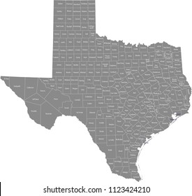 Texas county map vector outline with counties names labeled in gray background