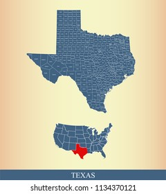 Texas county map vector outline in gray background. Texas state of USA map with counties names labeled