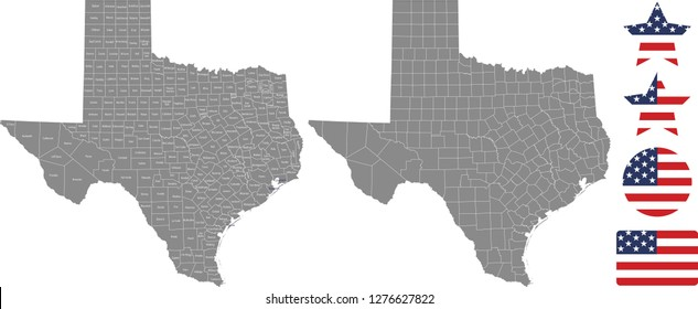 Texas county map vector outline in gray background. Texas state of USA map with counties names labeled and United States flag icon vector illustration designs