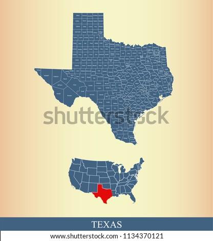 Texas County Map Vector Outline Gray Stock Vector (Royalty Free ...
