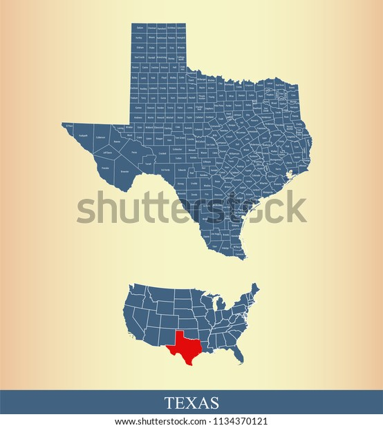 State Of Texas Counties Map.Texas County Map Vector Outline Gray Stock Vector Royalty Free