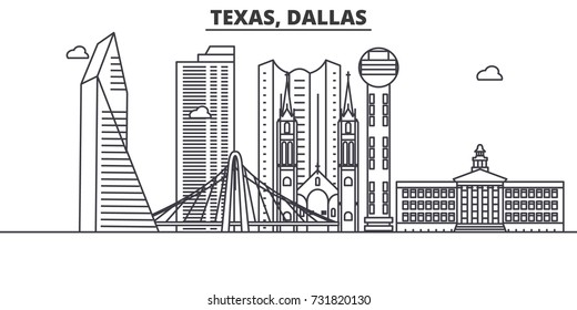 Texas Dallas architecture line skyline illustration. Linear vector cityscape with famous landmarks, city sights, design icons. Landscape wtih editable strokes