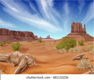 Texas desert landscape backgound vector