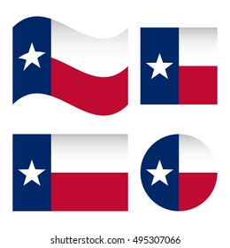 Texas Flag Different Shapes Set Isolated On White Background Vector Illustration