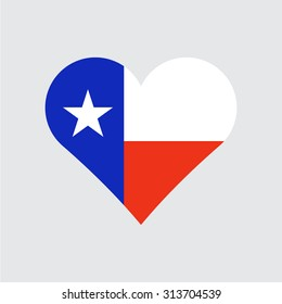 Texas flag heart . Love to country and state. Vector illustration EPS8