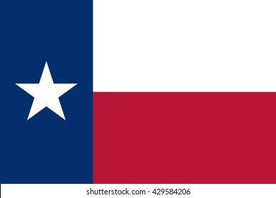 Texas flag official correct proportions, star, vector illustration