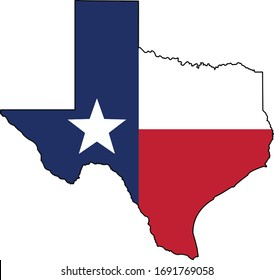 Texas Flag in the Texas state shape