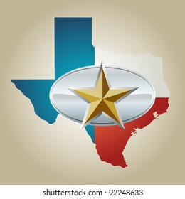 Texas Flag and State shape with star belt buckle