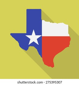 Texas flag,map flat icon with long shadow. Vector illustration