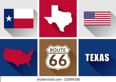 Texas Flat Icons Set. Vector graphic flat icon images and symbols representing the US State of Texas.