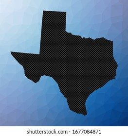 Texas geometric map. Stencil shape of Texas in low poly style. Amazing us state vector illustration.