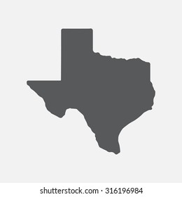 Texas grey state border map.