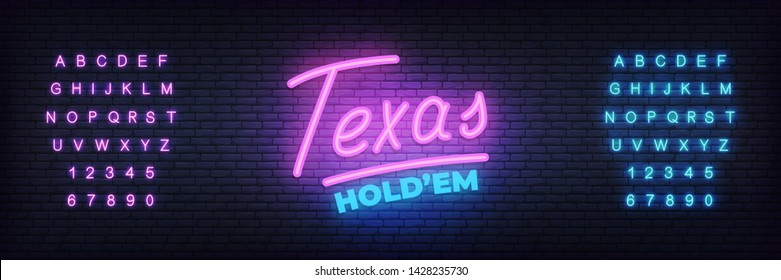 Texas hold'em neon sign. Glowing lettering template for poker club