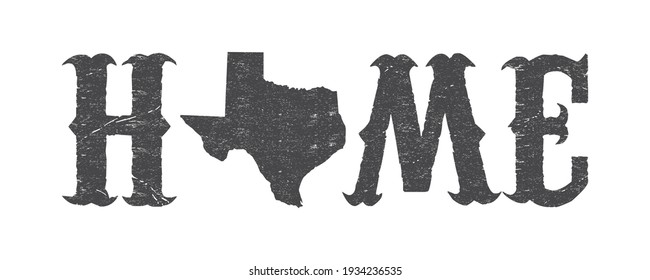 Texas is home t-shirt design with Texas map and grunge effect.