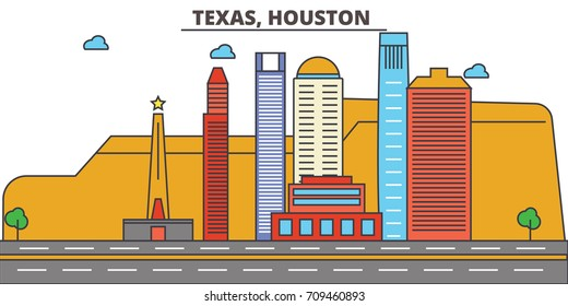 Texas, Houston.City skyline: architecture, buildings, streets, silhouette, landscape, panorama, landmarks, icons. Editable strokes. Flat design line vector illustration concept.
