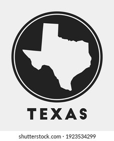 Texas icon. Round logo with us state map and title. Stylish Texas badge with map. Vector illustration.