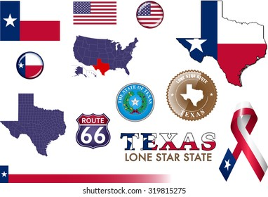 Texas Icons. Set of vector graphic images and symbols representing the US State of Texas.