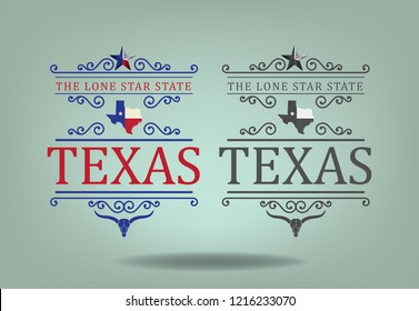 Texas logo concept design with small map, longhorn and nickname The Lone Star state, Vector eps 10