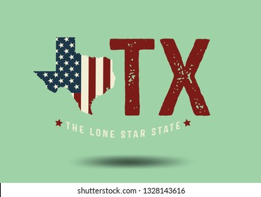 Texas Logo concept with nickname The Lone Star State, Vintage Style, Vector EPS 10.