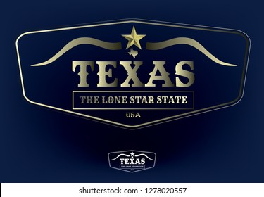 Texas Logo concept with state nickname The Lone Star State, star, map and longhorn, Vector EPS 10.
