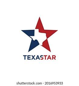 Texas logo design. Lone Star and Texas Map Symbol. Lonestar Vector Illustration.