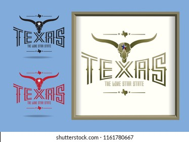 Texas logo with longhorn and small map and nickname The Lone Star State, Vector EPS 10.