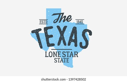 Texas - The Lone Star State. Texas state logo, label, poster. Vintage poster. Print for T-shirt, typography. Vector illustration