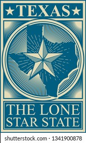 Texas the Lone Star State vintage design