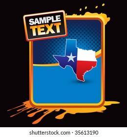 Texas lonestar state on orange splatter banner