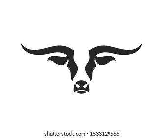 Texas longhorn bull. Logo. Isolated bull head on white background. Strong animal. Ox head. Symbol of New Year 2021