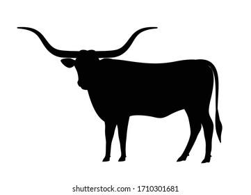 Texas Longhorn cattle icon, vector illustration