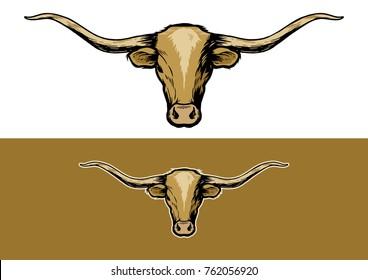Texas Longhorn Cattle Illustration