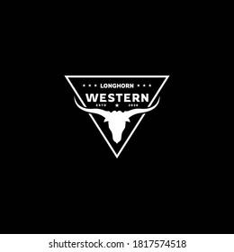 Texas Longhorn  Country Western Bull Cattle Vintage Label  Logo  Design