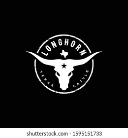 Texas Longhorn Cow, Country Western Bull Cattle Vintage Label Logo Design for Family Countryside Farm