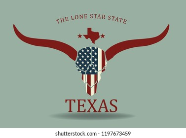 Texas longhorn with small map and nickname the lone star state, vector eps 10.