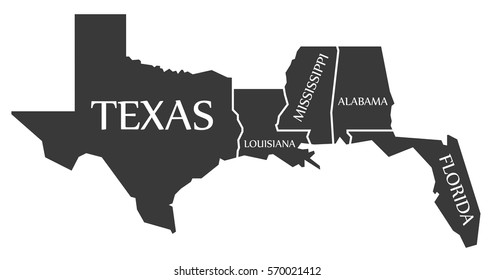 Texas - Louisiana - Mississippi - Alabama - Florida Map labelled black illustration