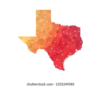 Texas Map - Abstract geometric rumpled triangular low poly style gradient graphic on white background , line dots polygonal design for your . Vector illustration eps 10.