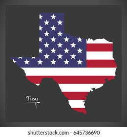 Texas map with American national flag illustration
