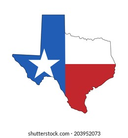 Texas map with flag isolated on white background. Vector