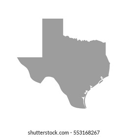 Texas map in gray on a white background