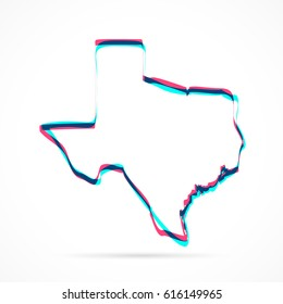 Texas Map hand drawn with blue and pink highlighters, isolated on a blank background. Vector illustration, easy to edit, manipulate, resize or colorize.