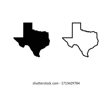 Texas Map Icon, Texas Map Sign and symbol vector
