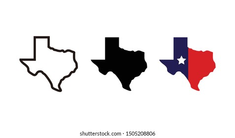Texas map icon vector for ... site computer and app