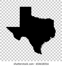 Texas map isolated on transparent background. Black map for your design. Vector illustration, easy to edit.