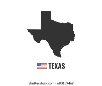 Texas map isolated on white background silhouette. Texas USA state. American flag. Vector illustration.